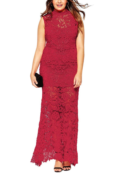 Curvy model in red lace evening dress with black clutch