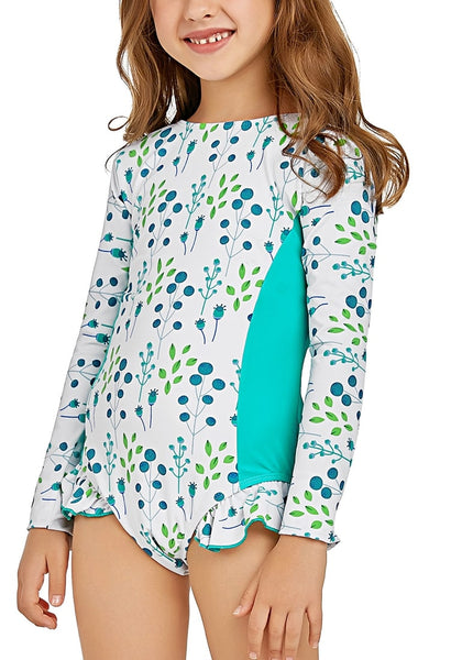Cute girl poses wearing aqua blue floral long sleeves ruffled one-piece girls rash guard swimsuit