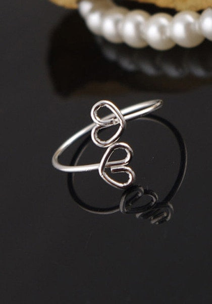 Cute heart of love you ring set