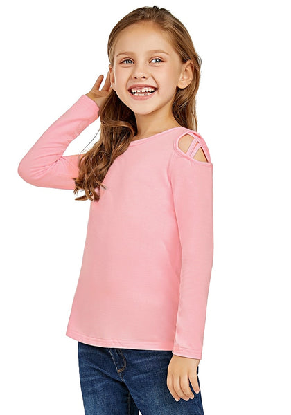 Cute model poses wearing baby pink long sleeves crisscross cutout cold-shoulder girl top