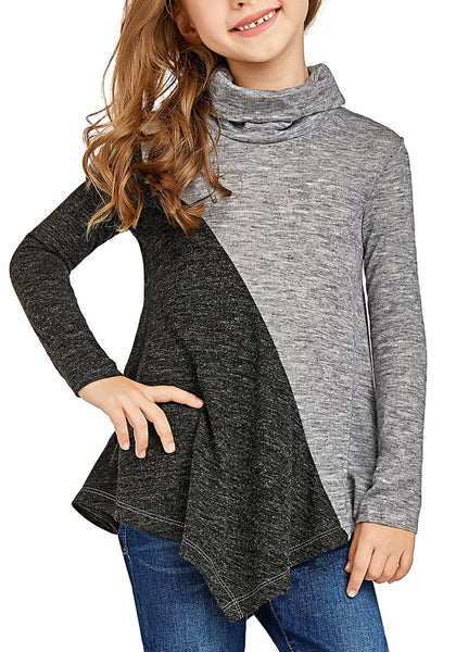 Cute model poses wearing grey colorblock asymmetrical hem cowl-neck girl top