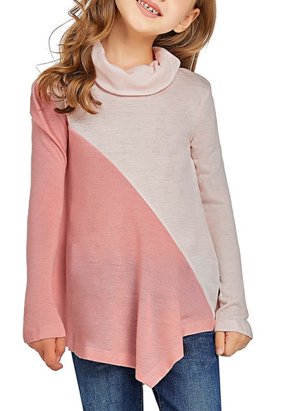 Cute model poses wearing pink colorblock asymmetrical hem cowl-neck girl top