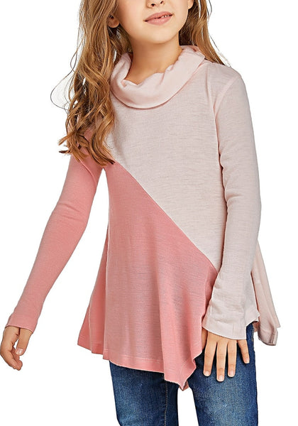 Cute model wearing pink colorblock asymmetrical hem cowl-neck girl top