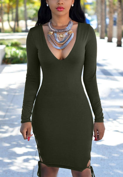 Front view  model in moss green plunging bodycon dress