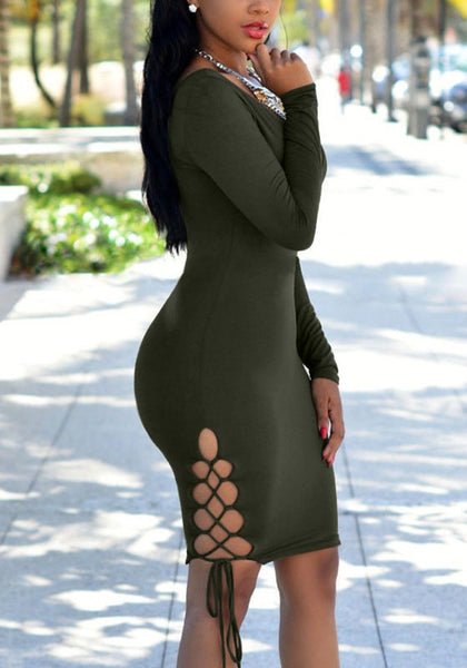 Side view  model in moss green plunging bodycon dress
