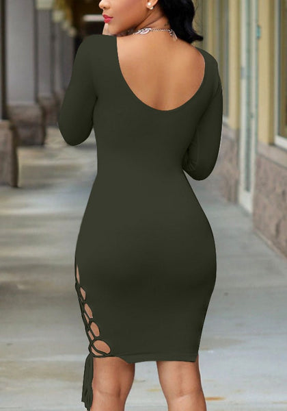 Back view  model in moss green plunging bodycon dress