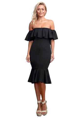 Black Ruffled Off-Shoulder Mermaid Midi  Dress