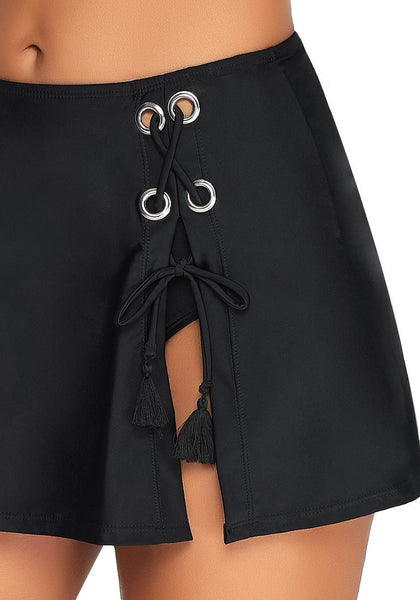 Details of black side-slit grommet drawstring skirtini