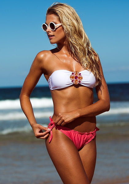Floral Jewelry Bikini Set - Hot Pink - Totally Rad Swimwear