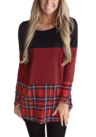 Maroon Plaid Curved Hem Color Block Blouse