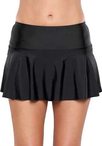 Solid Black Flared Swim Skirt