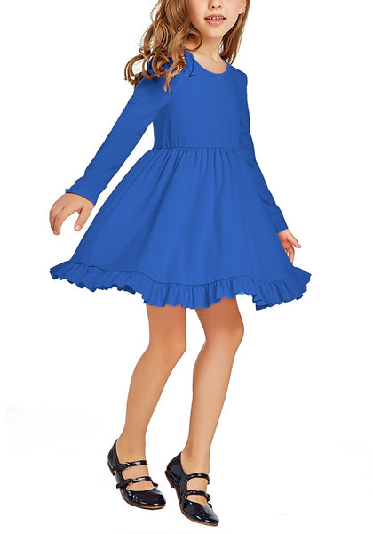 Front full body shot of little girl wearing royal blue ruffled hem pleated long sleeves short girl dress