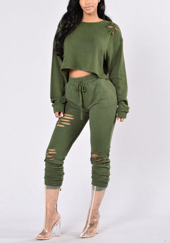 Army Green Ripped-Pants Two-Piece Set