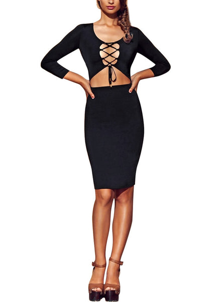 Front full body shot of model in black lace-up cut out midi dress