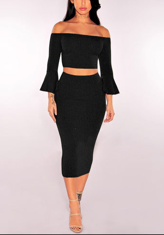 Black Ribbed Knit Bell-Sleeved Two-Piece Skirt Set