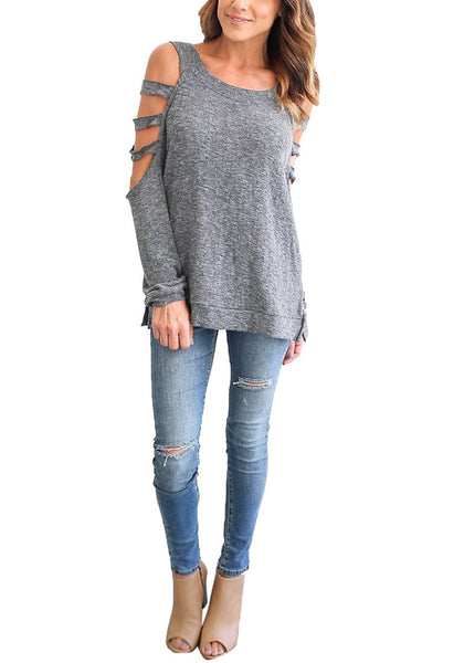 Front full body shot of model in grey cold-shoulder hollow-out blouse