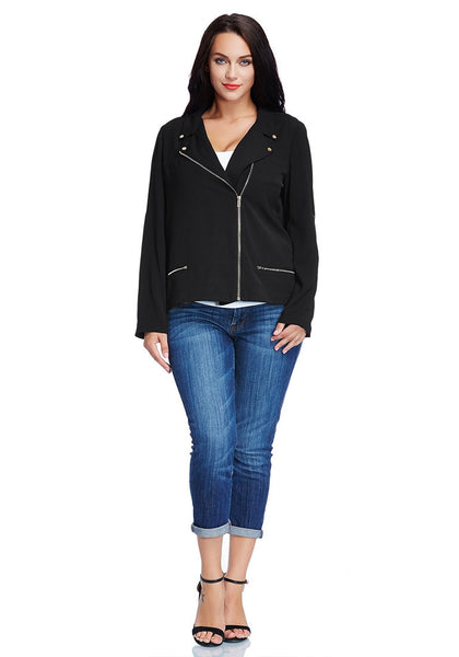 Front full body shot of model in plus size front-zip black blazer