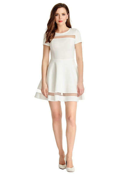 Front full body shot of model wearing White Mesh-Panel Short-Sleeve Skater Dress