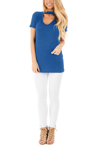 Blue Choker-Neck Short Sleeves Top
