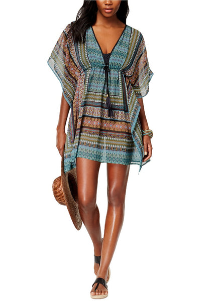 Front full body shot of model wearing blue green ethnic-print kaftan beach cover-up
