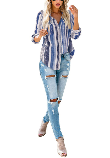 Front full body shot of model wearing blue striped cuffed sleeves button-up top