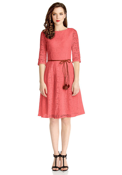 Front full body shot of model wearing coral lace crop sleeves A-line dress