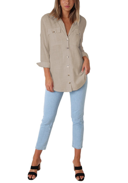 Front full body shot of model wearing khaki long cuffed sleeves lapel button-up blouse