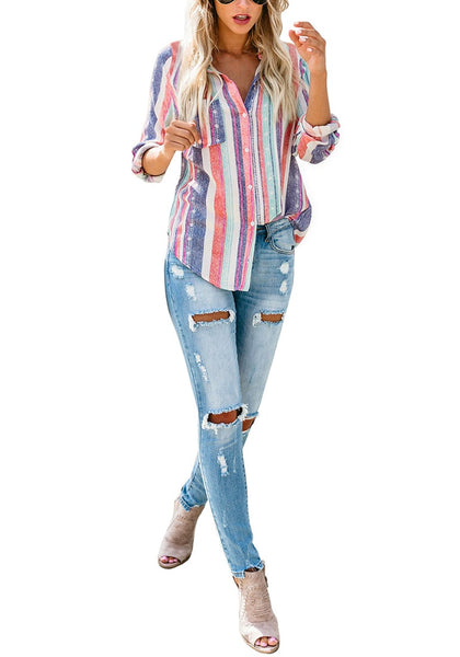 Front full body shot of model wearing multcolored striped cuffed sleeves button-up top
