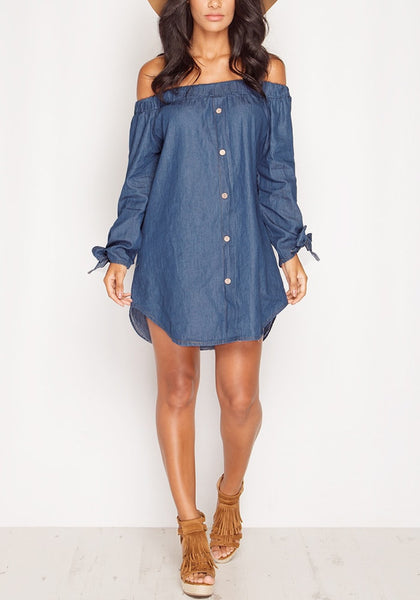 Front full body shot of model wearing off-shoulder chambray tunic