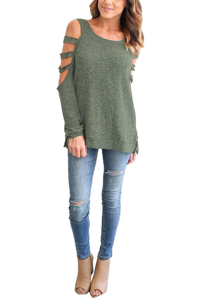 Front full body shot of model wearing olive green cold-shoulder hollow-out blouse