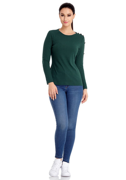 Front full body shot of model wearing pine green button-embellished fitted top