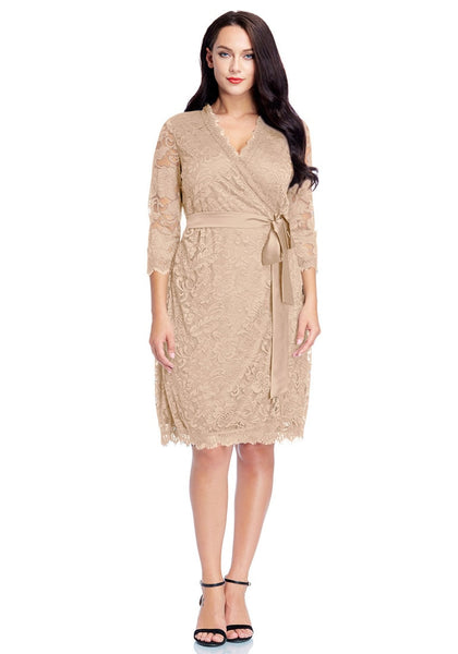Front full body shot of model wearing plus size beige lace crop sleeves wrap dress