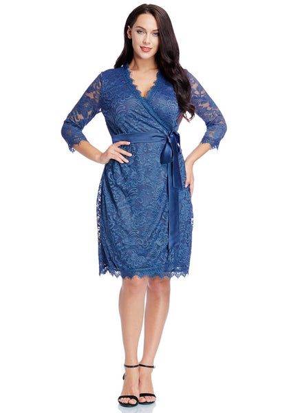 Front full body shot of model wearing plus size blue lace crop sleeves wrap dress