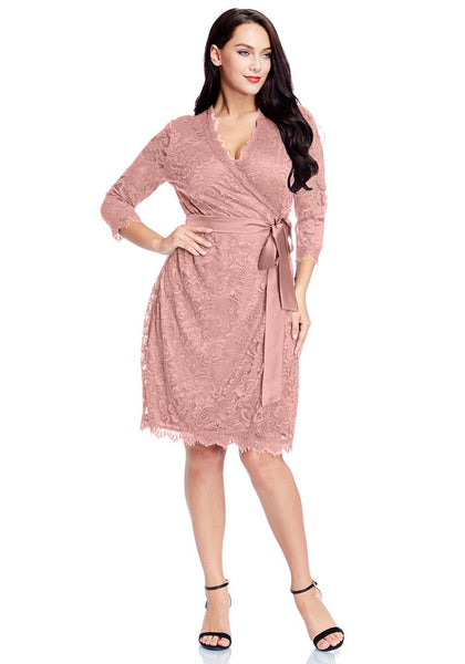 Front full body shot of model wearing plus size dusty rose lace crop sleeves wrap dress