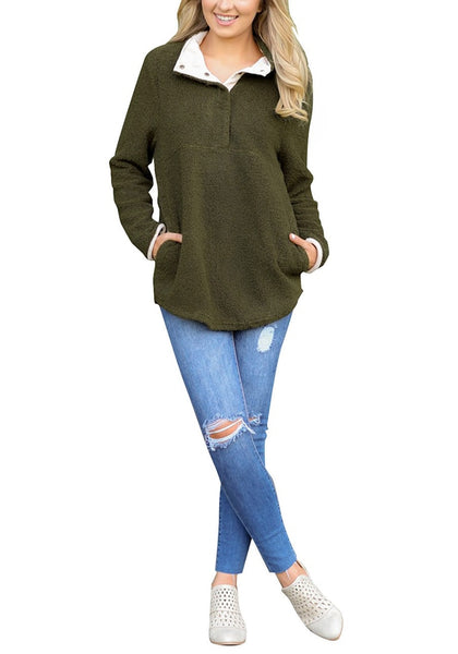 Front full body shot of woman in army green button-front fleece pullover