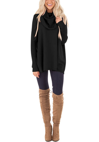 Black Ribbed Cowl Neck Loose Sweater