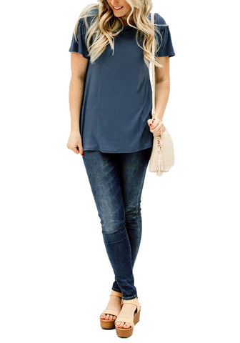 Blue Short Ruffle Sleeves Casual Blouse