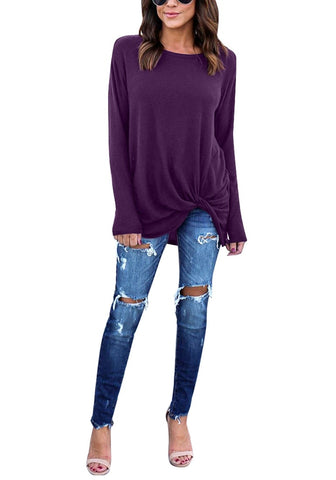 Purple Front Twist Knot Long Sleeves Crew Neck  Blouse
