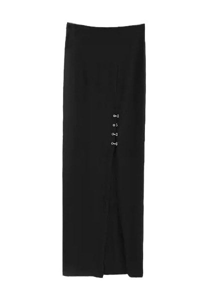 Front of black side-slit long skirt