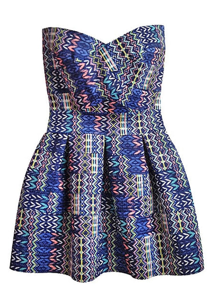 Front of blue Aztec-print strapless sweetheart dress