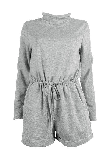 Front of grey turtleneck drawstring romper