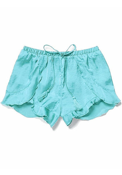 Front of light blue ruffled petal shorts
