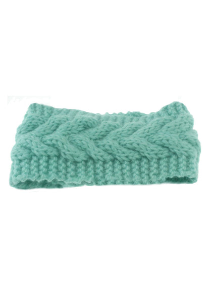 Front of mint green crochet headwrap