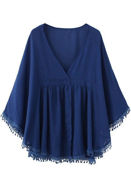 Front of navy blue chiffon kaftan top