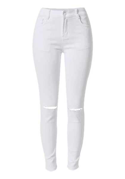 Front of white ripped skinny jeans
