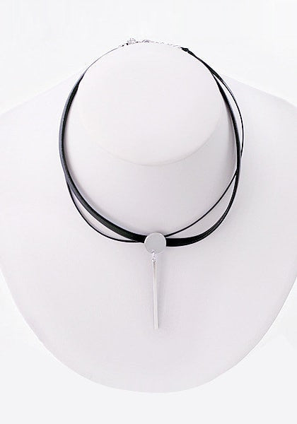 Front shot black layered PU silver bar choker on a mannequin bust