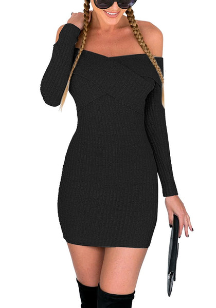 Front shot of braided model in black cross-front off-shoulder mini dress