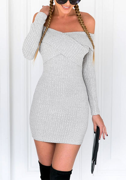 Frontal view of model wearing grey cross-front off-shoulder mini dress