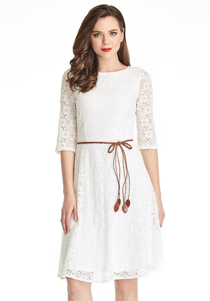 Front shot of brunette model wearing white lace crop sleeves A-line dress