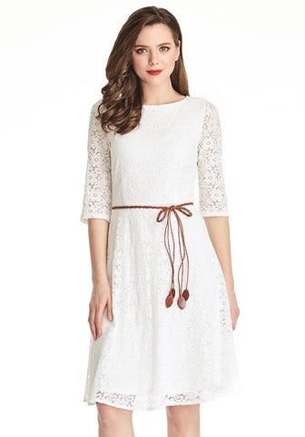 White Lace Crop Sleeves A-Line Dress
